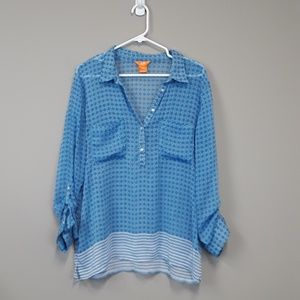 Joe Fresh popover chiffon blouse top size XL